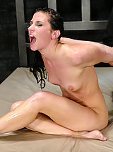 Tiny Boobs, Brunette is bound, forced to orgasm and fucked by a machine.
