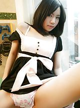 young panties, Mio sexy Asian teen is a maid who also enjoys modeling for fun