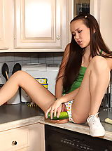 sheer panties, Amai Liu toying herself in the kitchen with fruits and kitchen tools
