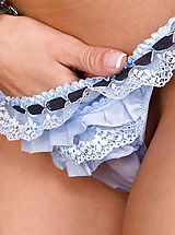 women panties, Crissy has on some super cute blue lingerie, but not for long!