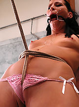Small Nipples, Shaved lesbian gets bound, forced to cum, by a... man!
