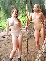 Small Breasts, Nude hike with Lena and Melody
